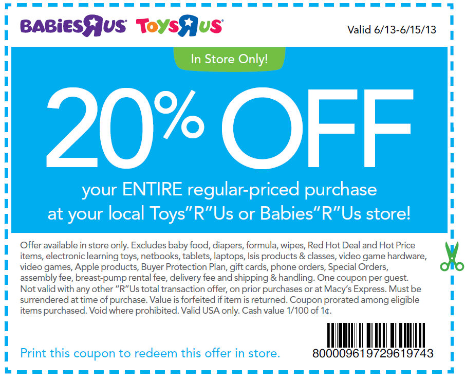 Toys R Us Babies R Us Coupon 20 Off One Regular Priced